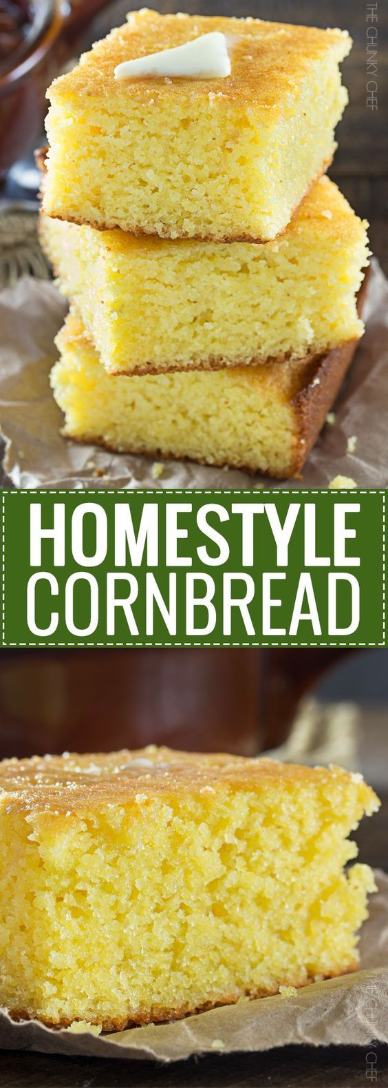 Homestyle Cornbread   This homestyle, baked from scratch cornbread is a perfect mix of savory southern cornbread and sweet northern cornbread... fluffy and soft, it's the only recipe you'll need!   http://thechunkychef.com