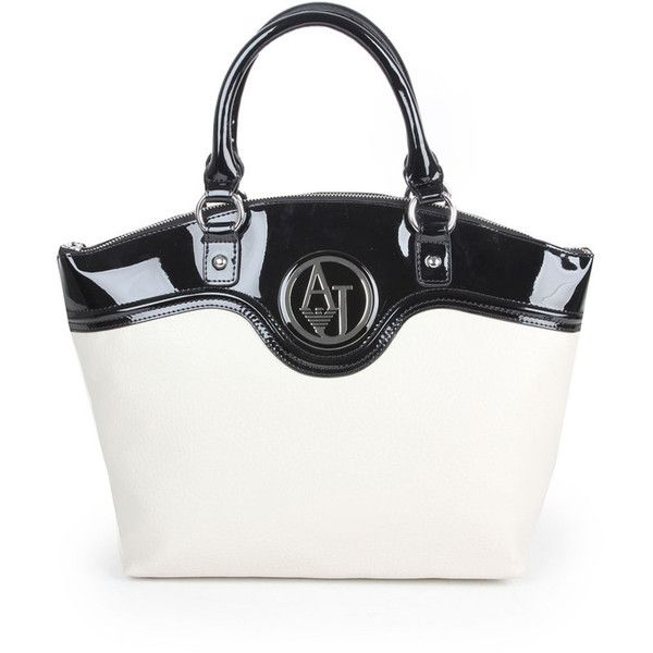 ARMANI JEANS Womens Cream Two Tone Eco Leather Tote Bag ($145) ❤ liked on Polyvore featuring bags, handbags, tote bags, cream tote, two tone tote, zipper purse, lined tote bag and tote purses