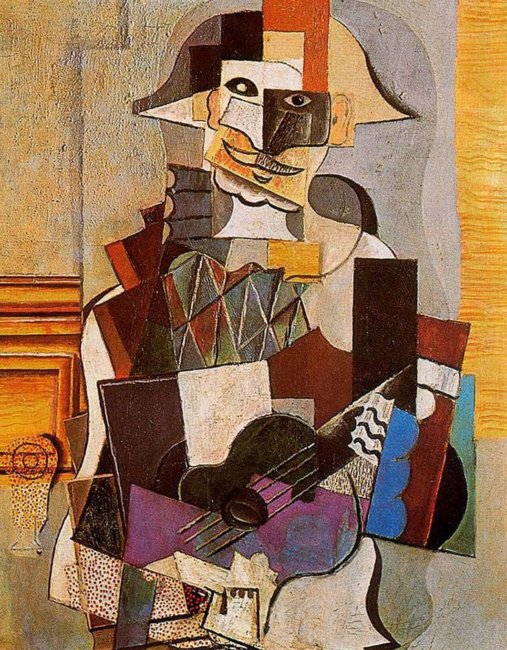 Pablo Picasso Cubism | Harlequin - Pablo Picasso - WikiPaintings.org