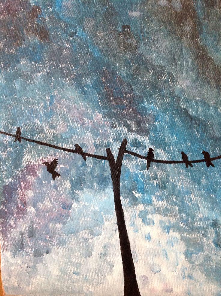 Schilderij, vogels op een lijn December 2012, acrylverf op linnen