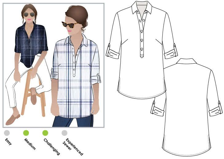 Lennie Over-Shirt Sewing Pattern By Style Arc