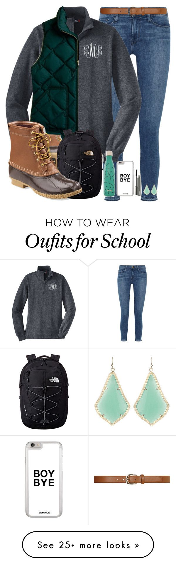 """School is sooo boring"" by pnw-prep on Polyvore featuring Frame Denim, L.L.Bean, The North Face, Dorothy Perkins, S'well, MAC Cosmetics and Kendra Scott"