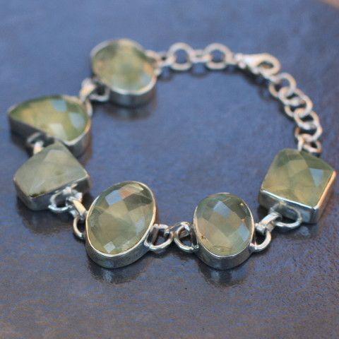 Prehnite and Sterling Silver Mixed Shape Bracelet - SilverBellas.com