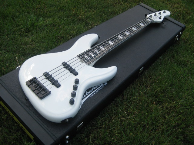 """Here is the hit of NAMM 2012, the """"Killa White Whale"""", otherwise known as a Brubaker Custom Shop JXB-5 in white with black finished maple fingerboard and '70s J Bass accents."""