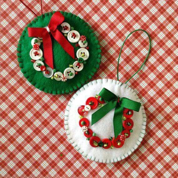 Christmas Felt Craft Ideas Part - 27: Christmas Felt Ornaments - (set Of Very Unique Design With Buttons And  Beads Decor With A Lovely Bow Creating A Wreath. Handmade And The Size Is -  Picmia