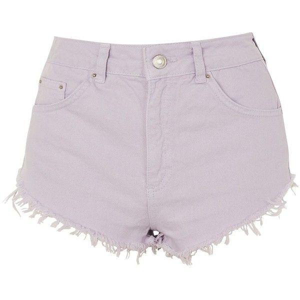 Topshop Petite Denim Kiri Shorts ($42) ❤ liked on Polyvore featuring shorts, lilac, high-waisted shorts, highwaist shorts, denim shorts, topshop shorts and pastel high waisted shorts