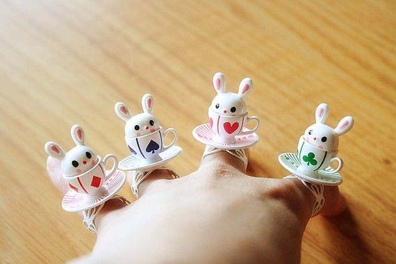Alice in Wonderland Rabbit teacup ring by lepetitebonbon on Etsy, $18.00