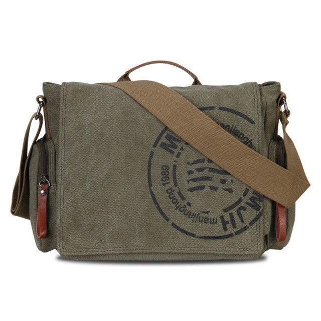 MANJIANGHONG Vintage Men's Messenger Bags Canvas Shoulder Bag Fashion Men Business Crossbody Bag Printing Travel Handbag 1124