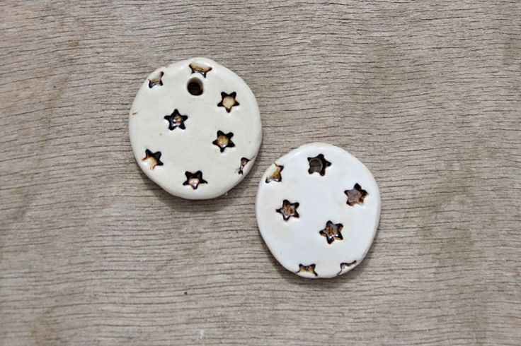 Ceramic pendant, glazed pendant, star pendant, ceramic stars, ceramic disc by BlackRabbitCeramics on Etsy