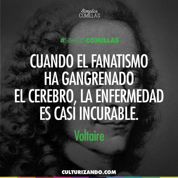 #Pinterest Voltaire, filósofo que fue la conciencia de su época luchando contra la injusticia y el terror del sistema imperante.