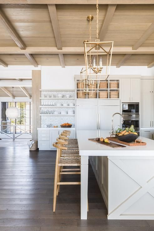 Stunning neutral and white kitchen with layers of texture and exposed shiplap ceiling | Alyssa Rosenheck - Nicole Davis Interiors