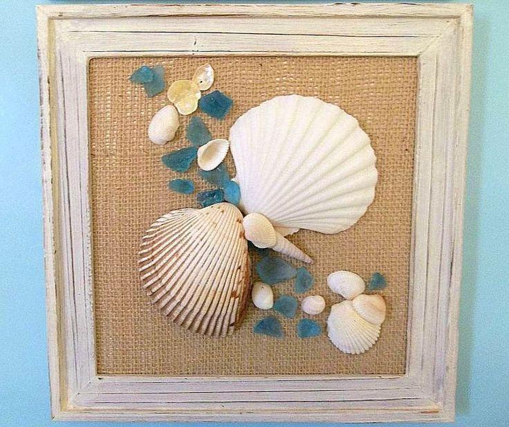 Handmade Beach Decor Seashell Sea Glass Picture   Beach Cottage Seashell  Frame   Seashells In Frame   Wall Hanging   Tabletop, Shell Art,