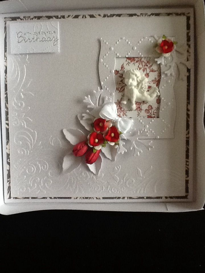 For this card I have used Spellbinders Grand Squares. The papers are from J'adore and Maja. The flowers are from Wild Orchid
