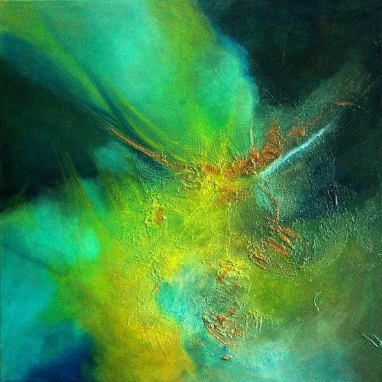 Celestial Dream 1: oil paint mixed media on  stretched canvas. By: Marie Therese Wekx