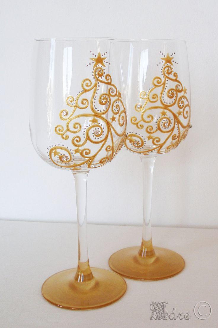 Christmas Tree Swarovski Crystals Hand Painted Wine Glass, x 2