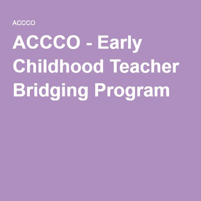 ACCCO - Early Childhood Teacher Bridging Program