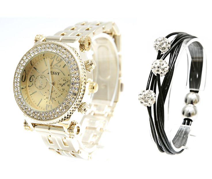 Ceas dama Jessy Nut Gold cu cristale Swarovski - Crystal Glamour