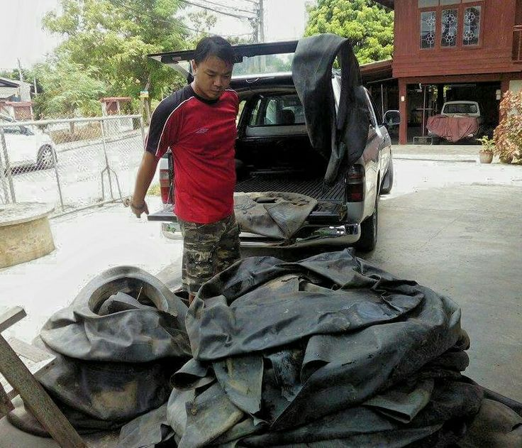 Benz unloads inner tube collected in Chiang Mai Thailand.