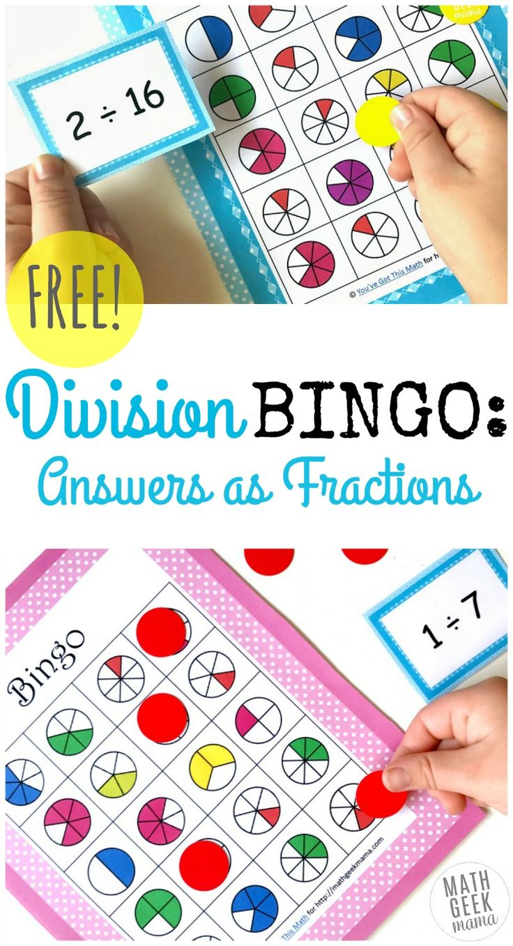 Do your kids struggle with division when the answer is suddenly a fraction? This fun division BINGO game is the perfect way to practice and work with fractions at the same time! http://mathgeekmama.com/division-bingo-game-answers-fractions/?utm_campaign=coschedule&utm_source=pinterest&utm_medium=Bethany%20%7C%20Math%20Geek%20Mama&utm_content=Simple%20and%20Fun%20Division%20BINGO%20Game%3A%20Answers%20as%20Fractions