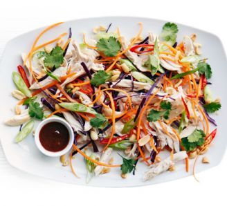 Asian pulled chicken salad. 352 kcal, 19g fat. 1 small roast chicken, 1/2 red cabbage, 3 carrots, 5 spring onions, 2 red chillies, coriander, salted peanuts roasted, hoisin sauce, sesame oil.