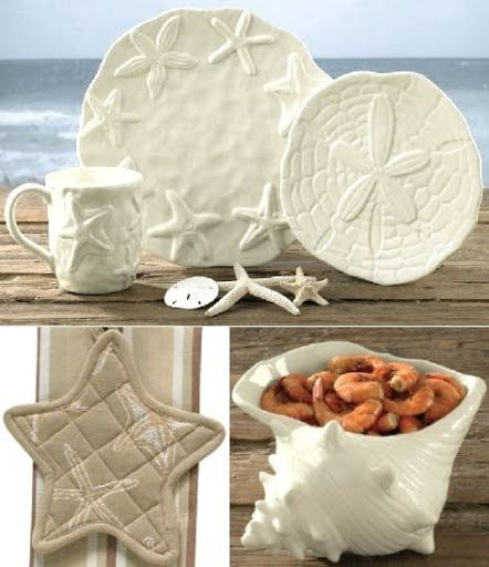 Home Decor at The Beach House - love the conch shell snack dish & the starfish pot holder!