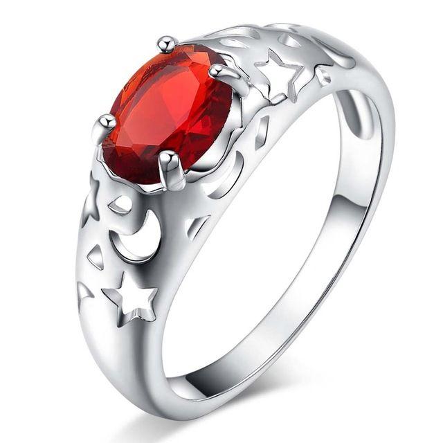 Луна звезда красный циркон Овальные Серебряные позолоченные Кольца Мода Ювелирные Кольца Женщины и Мужчины,/CCPAXZAK MYEIAQMW
