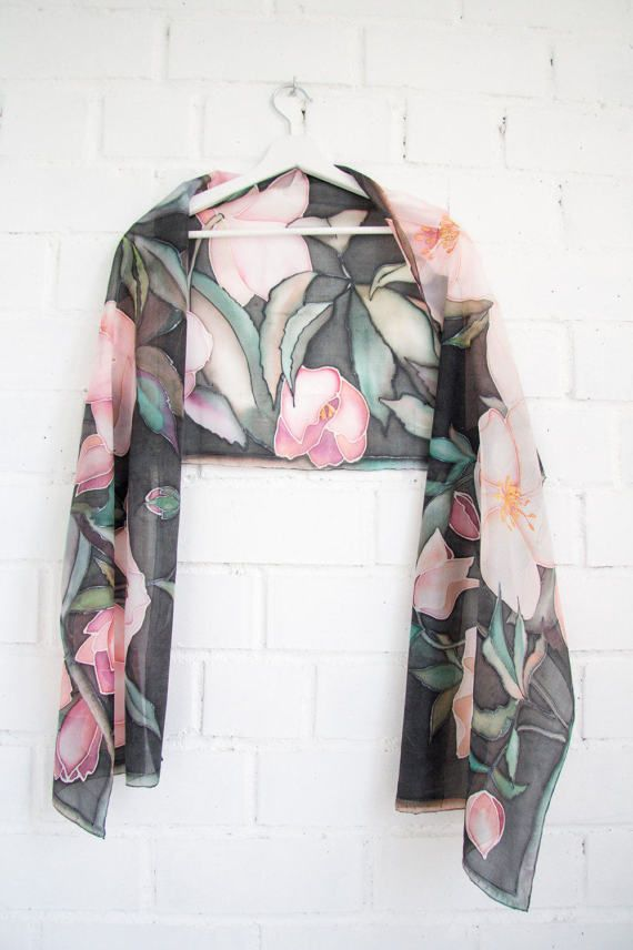 Dark floral silk scarf Hellebores Pink White Black scarf silk