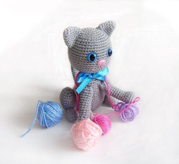 Amigurumi Grey Cat Crocheted Cat by naryatoys on Etsy, $30.00