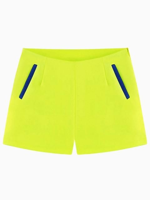 Neon Yellow Shorts With Blue Pockets