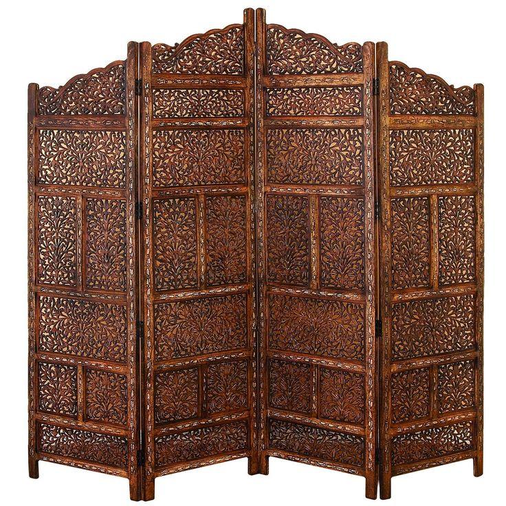 Villa Este Wood Room Divider 4 Panel Carved Screen (Panel), Black