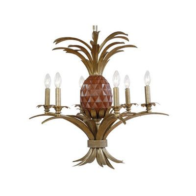 Pineapple 6 Light Candle Tropical Chandelier