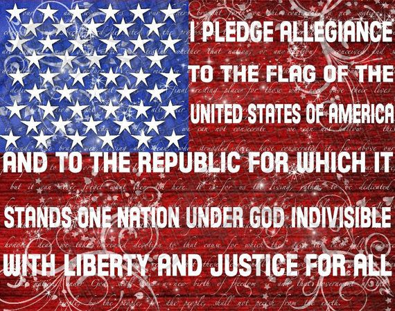 Pledge of Allegiance Contemporary Patriotic Print - Cafe Mount Art Block 11x14. $39.95, via Etsy.  Tann Man would love this in his room