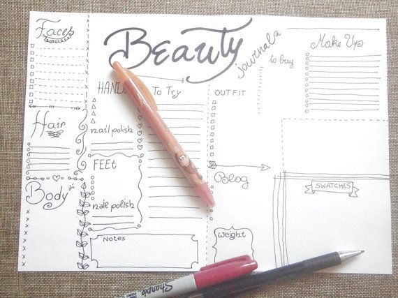 beauty journal make up journaling blogger planner beauty