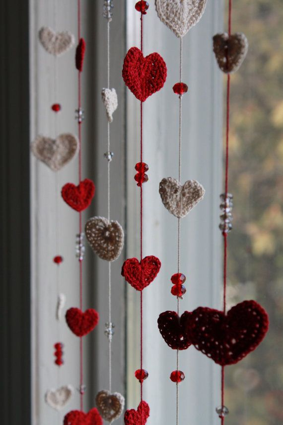 It's Raining Love  Crochet & Crystal Curtain or by TheVillagePixie, $30.00