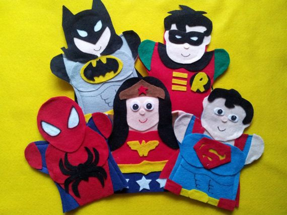 Super Hero-felt hand puppets- Batman, Robin, Super Man, Spider Man, Wonder Woman on Etsy, $28.99