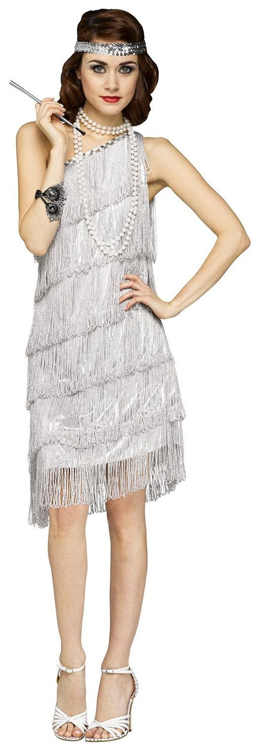 Shimmery Flapper Silver Adult Costume