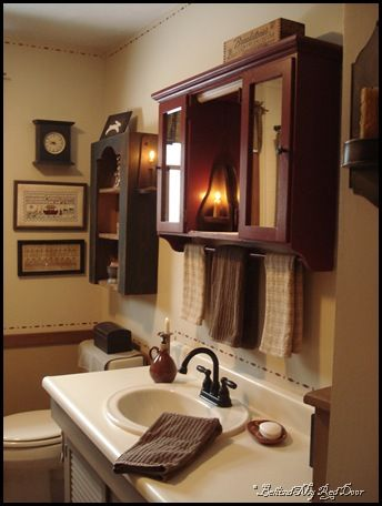 Behind My Red Door: Kitchen, Bathroom And Life Changesu2026love The Medicine  Cabinet. Primitive Country BathroomsPrimitive Bathroom DecorCountry ...