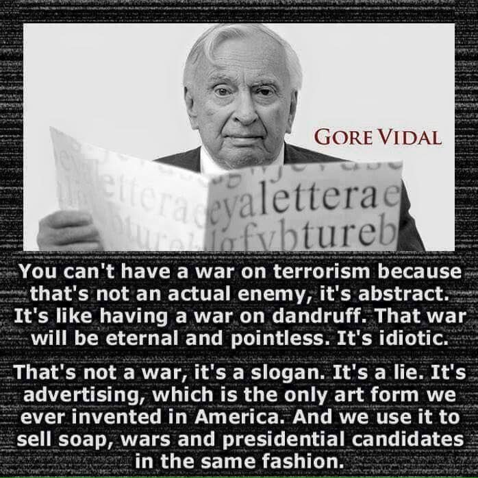 - Gore Vidal. Interesting ~BANGIN TRUTH ON YOUR EAR DRUMS!!  ✊ R.I.P. FRIEND!! I KNOW your glad to DONE with this simulation called LIFE.