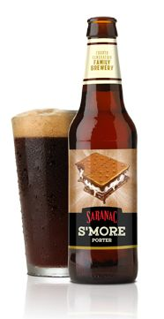 Saranac S'more - Combining the flavors of a porter and campfire s'more, this beer is brewed with a blend of Caramel, Biscuit, Brown and roasted malts and aged with chocolate and vanilla. (Fantastic smell, not too sweet - wow!)