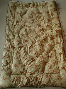 VINTAGE ANTIQUE FEATHER EIDERDOWN/QUILT/ THROW OVER ..pale green/pink floral des | eBay