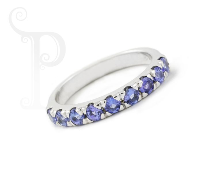Custom Made 9ct White Gold Cut out Double Claw Eternity Ring , Set With Round Cut Tanzanite's