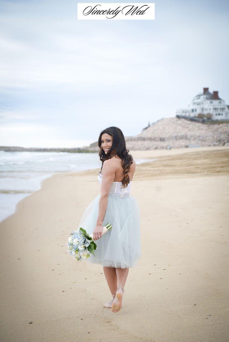 Fresh & Flirty by the Shore - on the blog today! #beachweddings #blue #blueweddingdress #shortweddingdresses #rhodeislandweddings #boudoir #weddingjewelry