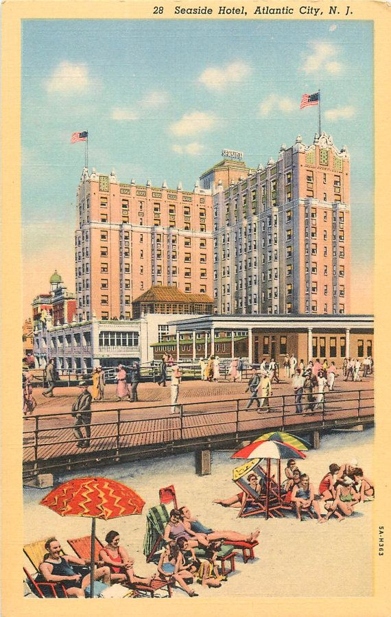 old atlantic city | Vintage Atlantic City, linen postcard (unused) -- Seaside Hotel ...