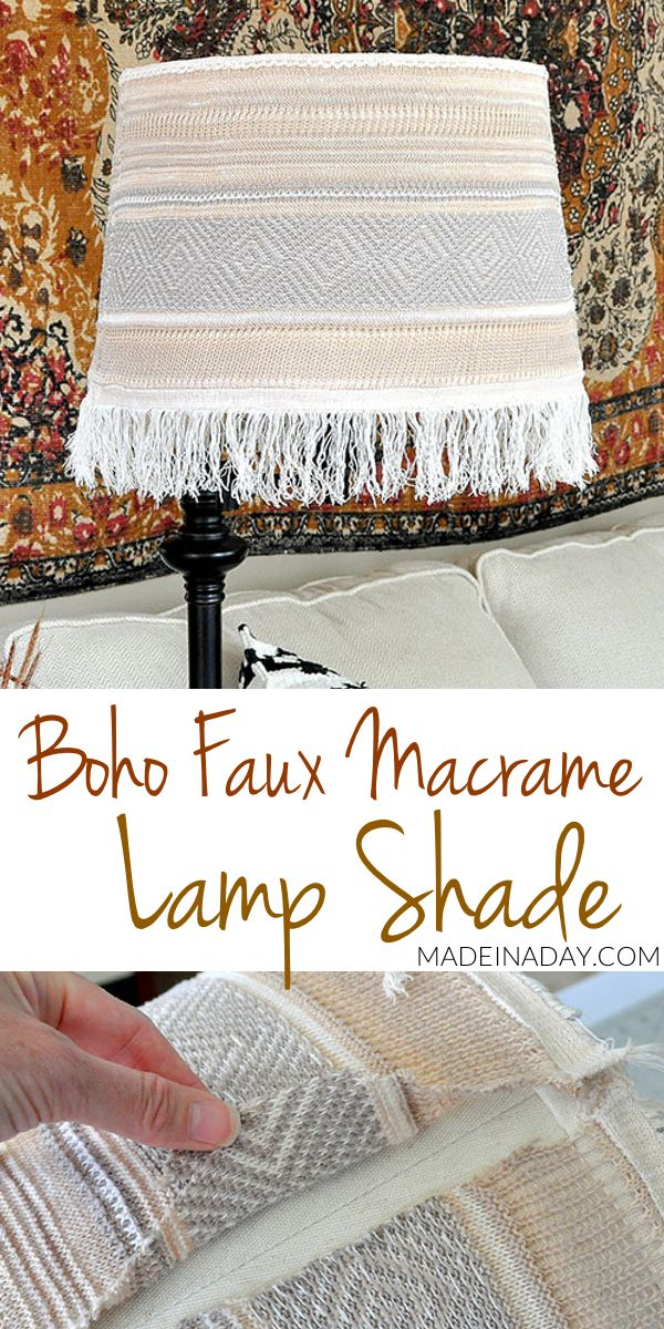 Boho Fringe Faux Macrame Lamp Shade Makeover | Made in a Day