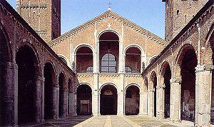 La Basílica de San Ambrosio (Sant'Ambrogio en italiano), originalmente llamada Basílica Martyrum, en honor a los cristianos martirizados durante las persecuciones romanas y enterrados en la zona donde se erigió la Basílica, fue encargada por el obispo de Milán, San Ambrosio entre los años 379 – 386. Cuando el mismo Ambrosio fue sepultado en la basílica, le fue cambiado el nombre.