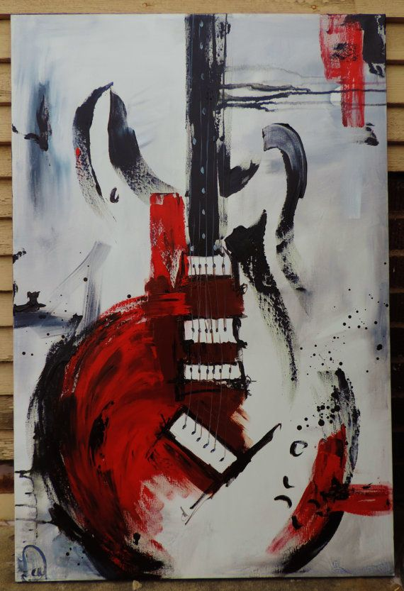 Guitar Painting Red White & Black Abstract by heatherdaypaintings