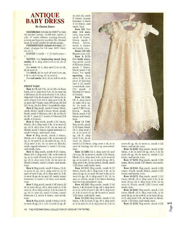 Antique Baby Dress free crochet pattern
