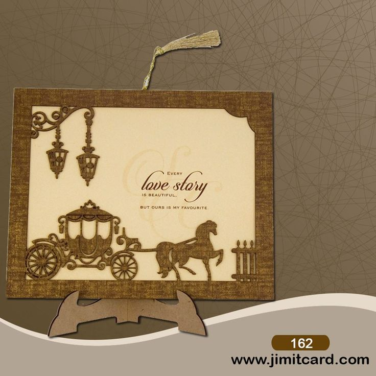 telugu wedding invitation cards online%0A An exquisite  Photoframe  Weddingcard with Frames  u     Wedding Carriage made  of MDF wood with