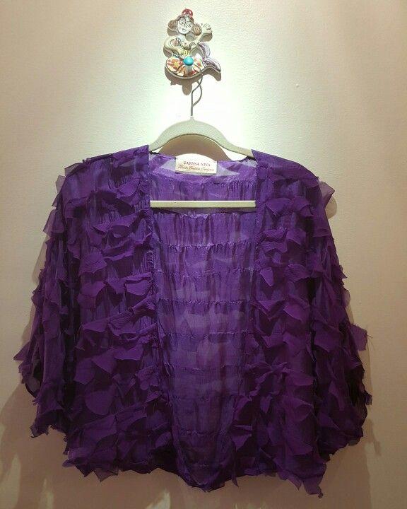 Caryna Nina Butterfly top in a regal purple silk chiffon fabric. looks like angel wings...