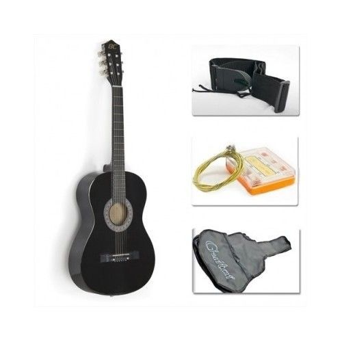 Beginners Acoustic Quitar Wood Starter Package Gig Case Tuner Strap Pick Strings